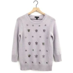 J.Crew Lavender Purple Jeweled Cluster Sweater S